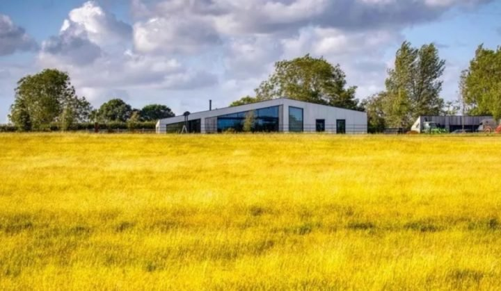 Modern architect designed house yellow field Warfield Berkshire
