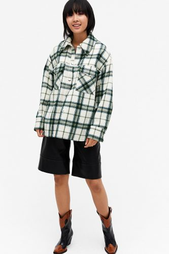 Monki green shacket over shirt jacket green cream and black