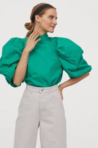 Green high neck puff sleeve top HM