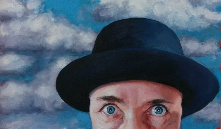 WOman in bowler hat blue sky and white cloud painting by Inge Du Plessis