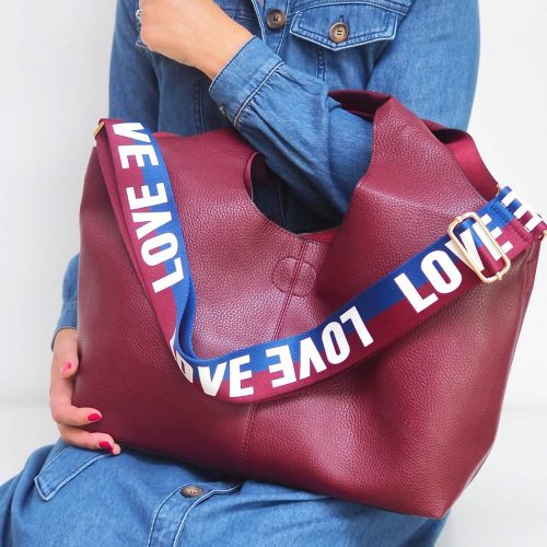 Gift pop Plum PU 3 in 1 tote bag with LOVE strap