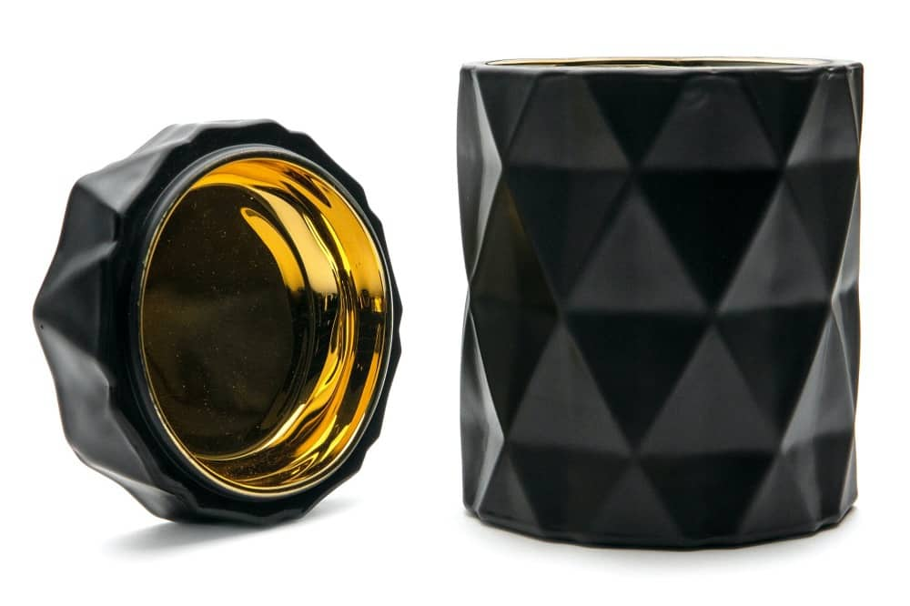 Humos custom luxury scented candle container – geometric-black with gold liner