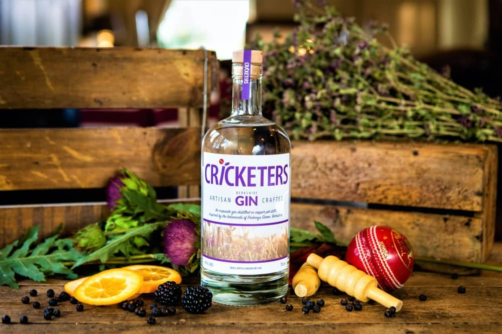 Cricketers Gin Bottle Berkshire with botanicals