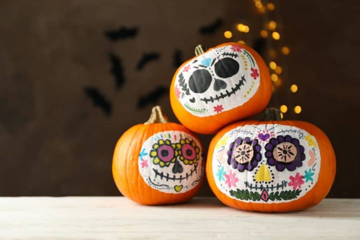 Painted day of the dead pumpkins