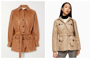 tan belted leather-shacket