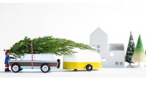 MINI FILI_CANDYVAN estate and caravan carrying a christmas tree