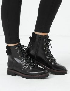 M&S black leather hiking boot