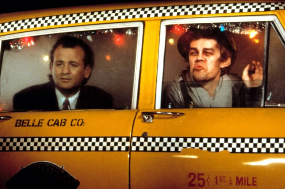 Scrooged Bill Murray in yellow cab