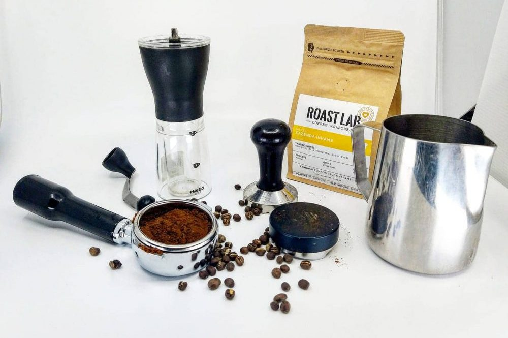 Roast Lab Coffee, grinder and stamp