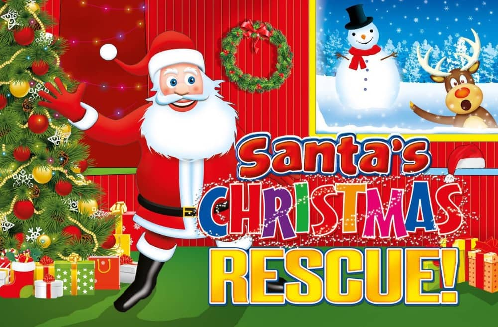 Illustration of Father Christmas a snowman and rudolph the reindeer for Santa's Christmas Rescue by Imagine Theatre