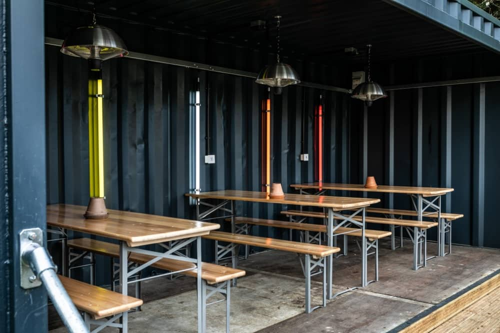The Last Crump shipping container outdoor dining areas