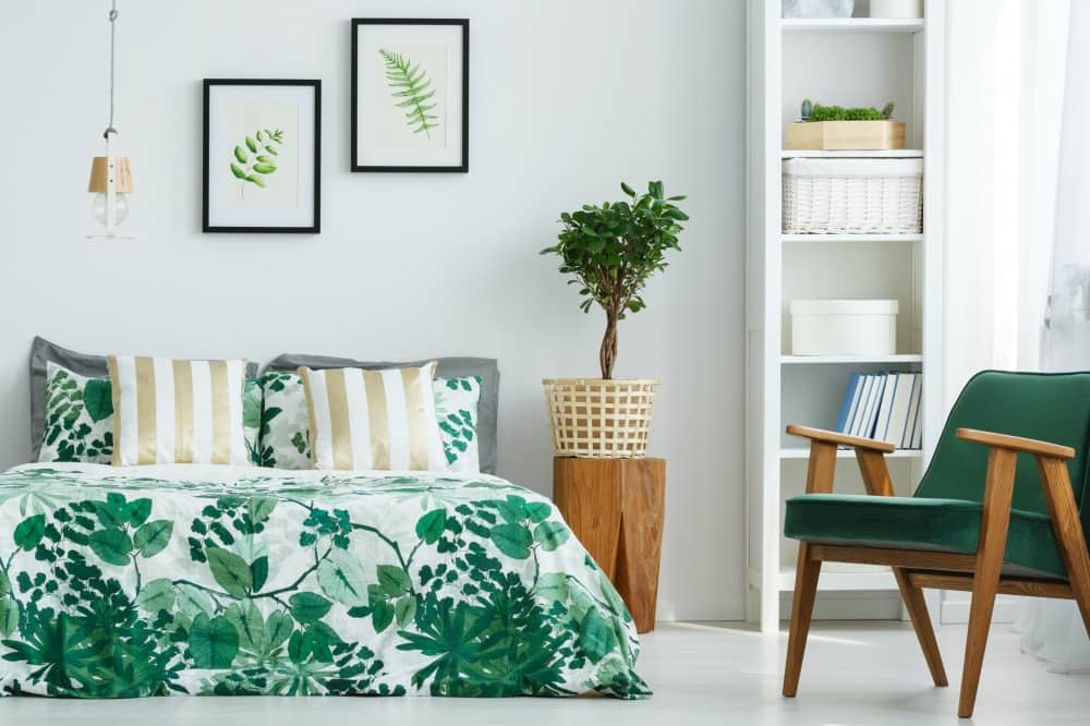 Bedroom green and white