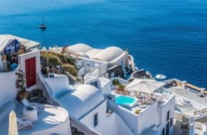 Greece white buildings and blue sea