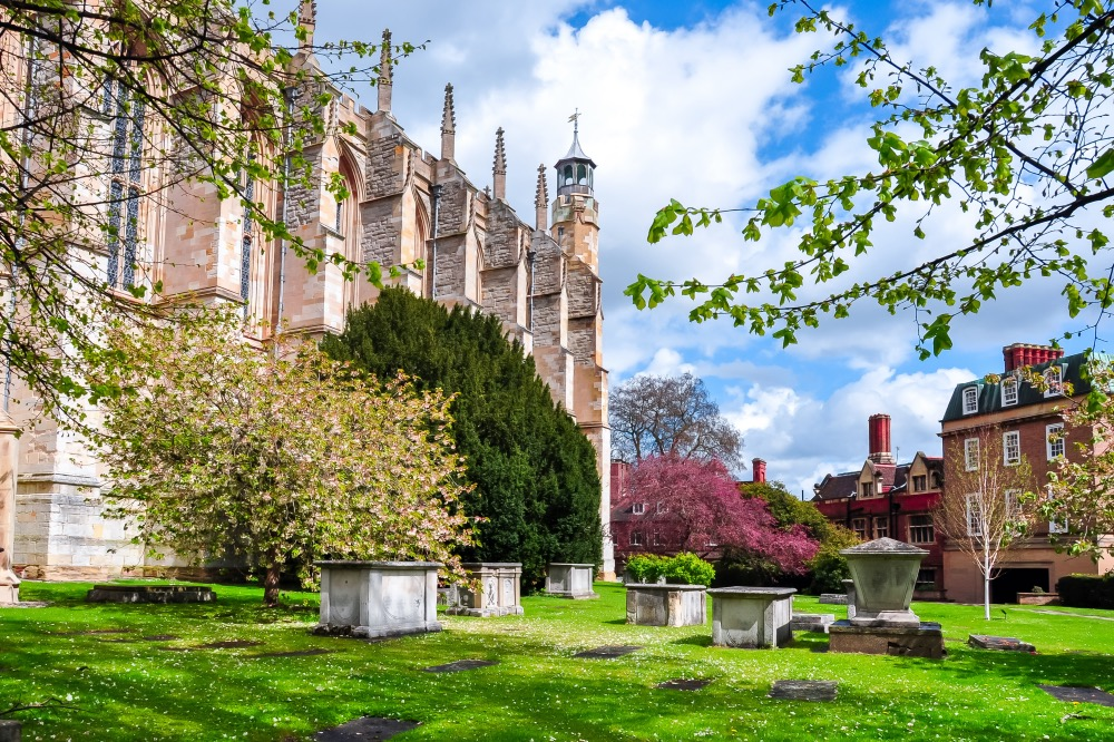 Eton,College,Chapel,And,Courtyard,In,Spring,,Uk