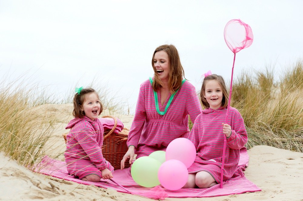 Bridie and Bert pink and green long sleeve towelling robes