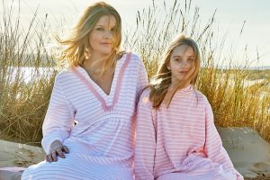 Bridie and Bert pale pink long sleeve towelling robe