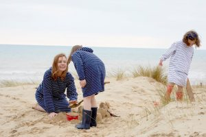 Bridie and Bert blue and white long sleeve towelling robe