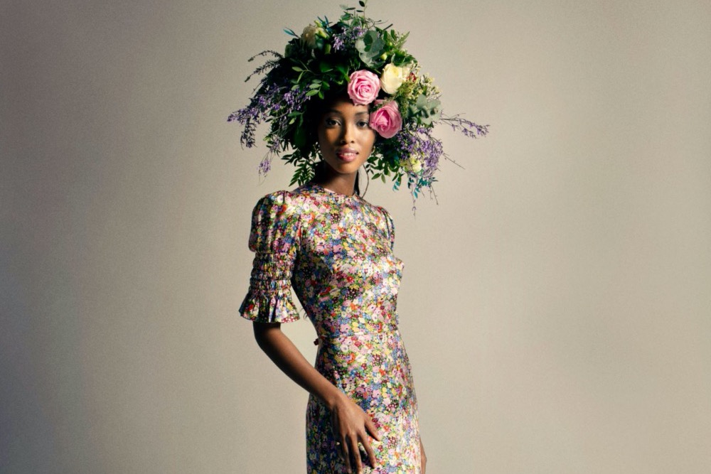 Vampire's Wife floral dress and floral crown