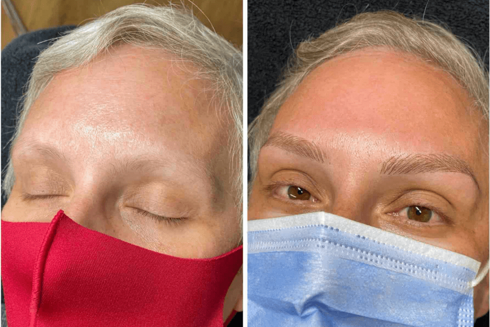 Just Brows before and After blonde