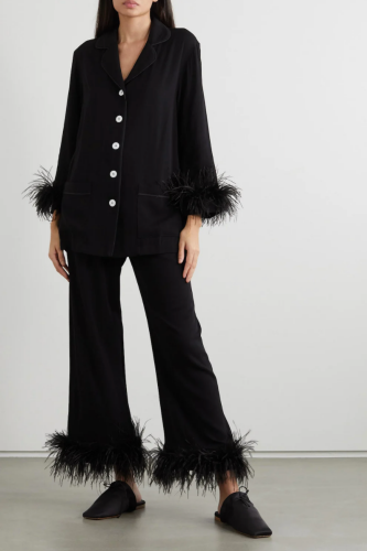 Black Sleeper PJs with feather trim